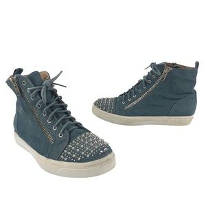 James Campbell High Top Studded Denim Sneakers